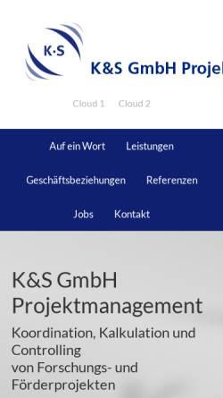Vorschau der mobilen Webseite www.ks-pm.de, K&S GmbH