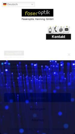 Vorschau der mobilen Webseite www.faseroptik-henning.de, Faseroptik Henning GmbH