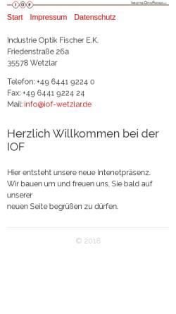 Vorschau der mobilen Webseite www.iof-wetzlar.de, IndustrieOptikFischer e.K.