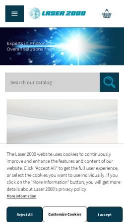 Vorschau der mobilen Webseite www.laser2000.de, Laser 2000 - Passion für Photonik