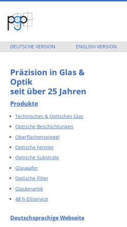 Vorschau der mobilen Webseite www.pgo-online.com, Präzisions Glas & Optik GmbH