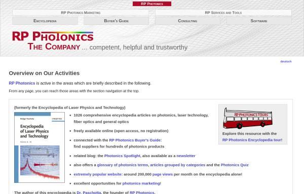 Vorschau von www.rp-photonics.com, RP Photonics Consulting GmbH