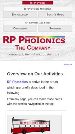 Vorschau der mobilen Webseite www.rp-photonics.com, RP Photonics Consulting GmbH