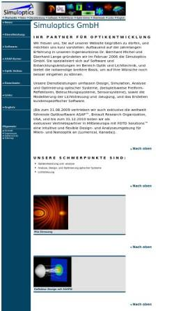 Vorschau der mobilen Webseite www.simuloptics.de, Simuloptics GmbH
