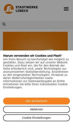 Vorschau der mobilen Webseite www.swhl.de, Stadtwerke Lübeck GmbH