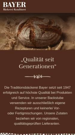 Vorschau der mobilen Webseite www.bayers.de, Bäckerei Bayer