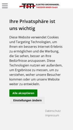 Vorschau der mobilen Webseite www.elektro-online.de, Maier, Theodor GmbH - Elektrogroßhandel