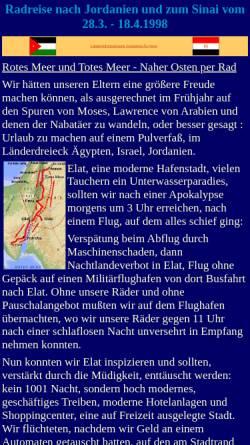 Vorschau der mobilen Webseite www.cramers-web.de, Rotes Meer und Totes Meer - Naher Osten per Rad [Jan Cramer]
