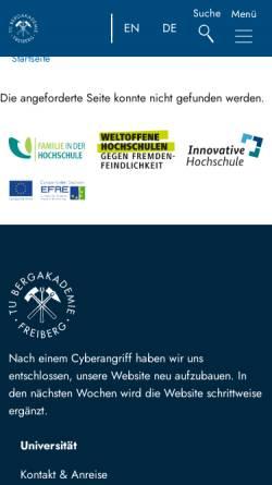 Vorschau der mobilen Webseite tu-freiberg.de, Lehr- und Besucherbergwerk