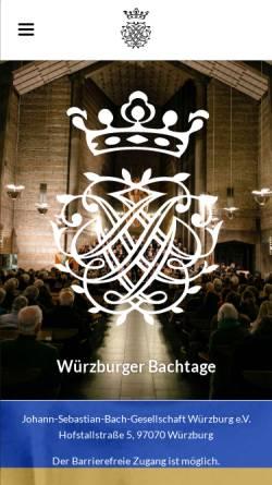 Vorschau der mobilen Webseite www.bachtage-wuerzburg.de, Johann-Sebastian-Bach-Gesellschaft Würzburg e.V.