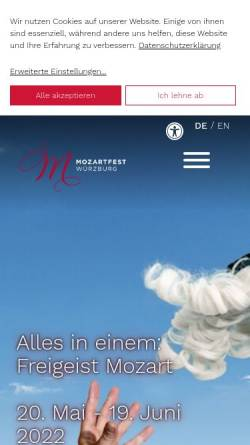 Vorschau der mobilen Webseite www.mozartfest.de, Mozartfest Würzburg