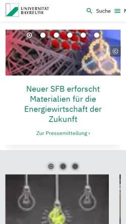 Vorschau der mobilen Webseite www.uni-bayreuth.de, Universität Bayreuth