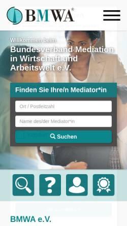 Vorschau der mobilen Webseite www.bmwa.de, BMWA - Bundesverband Mediation in Wirtschaft und Arbeitswelt e.V.