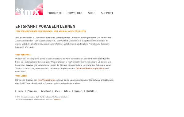 Vorschau von www.tmx.de, tmx Vokabeltrainer und Grammatikprogramme