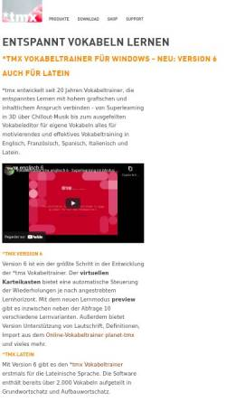 Vorschau der mobilen Webseite www.tmx.de, tmx Vokabeltrainer und Grammatikprogramme