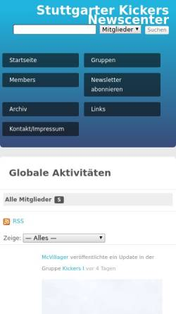 Vorschau der mobilen Webseite www.kickersnews.de, Blaue Götter