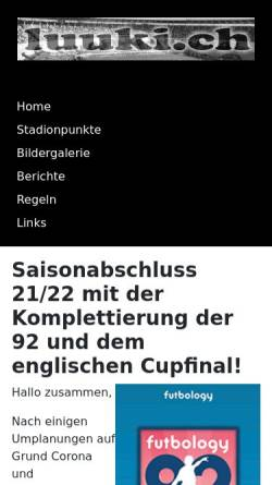 Vorschau der mobilen Webseite www.luuki.ch, Luuki.ch - Das Internetportal für Basler Groundhopper