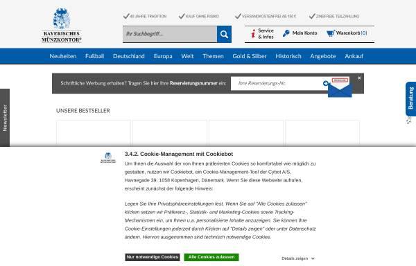 Vorschau von www.muenzkontor.de, Bayerisches Münzkontor HMK GmbH