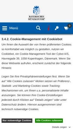 Vorschau der mobilen Webseite www.muenzkontor.de, Bayerisches Münzkontor HMK GmbH