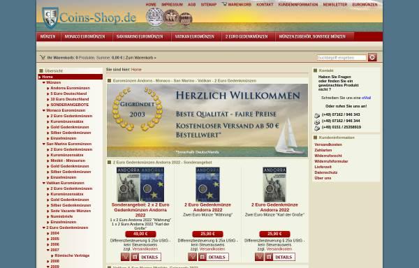 Vorschau von www.coins-shop.de, Münzenhandlung Weber, Thomas Weber