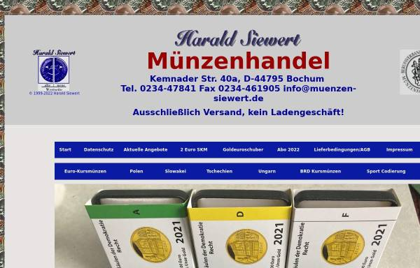 Vorschau von deutschlandmuenzen.de, Harald Siewert Münzenhandel