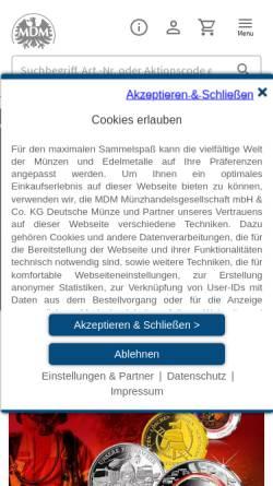 Vorschau der mobilen Webseite www.mdm.de, MDM Münzhandelsgesellschaft mbH & Co. KG
