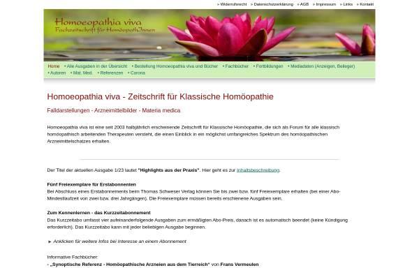 Vorschau von www.homoeopathiaviva.de, Homoeopathia viva Fachzeitschrift für HomöopathInnen