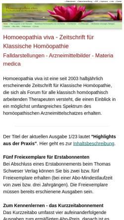 Vorschau der mobilen Webseite www.homoeopathiaviva.de, Homoeopathia viva Fachzeitschrift für HomöopathInnen