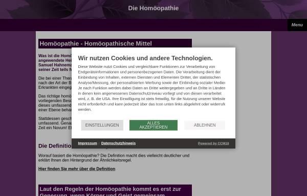 Vorschau von www.homoeopathie-homoeopathisch.de, Homöopathie - Ähnliches mit Ähnlichem heilen