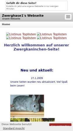 Vorschau der mobilen Webseite zwerghase1.beepworld.de, Zwergkaninchen