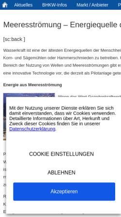 Vorschau der mobilen Webseite www.bhkw-infozentrum.de, Meeresströmung - Energiequelle der Zukunft?