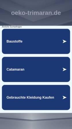 Vorschau der mobilen Webseite www.oeko-trimaran.de, Oeko-Trimaran - Mit erneuerbaren Energien angetriebenes Motorschiff