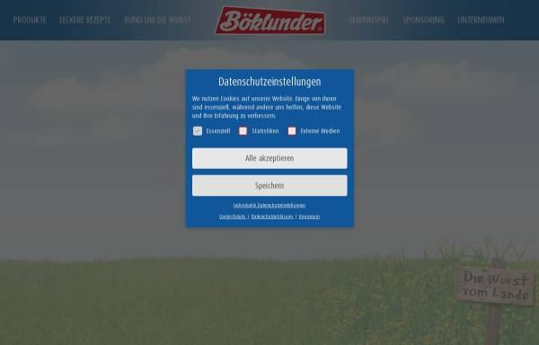 Vorschau von www.boeklunder.de, Böklunder Plumrose GmbH & Co. KG
