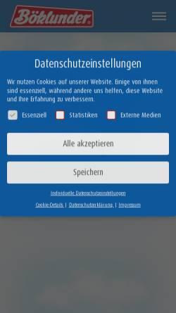 Vorschau der mobilen Webseite www.boeklunder.de, Böklunder Plumrose GmbH & Co. KG