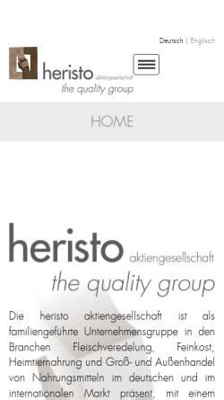 Vorschau der mobilen Webseite www.heristo.de, Heristo Aktiengesellschaft