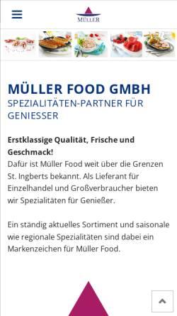 Vorschau der mobilen Webseite www.mueller-fleischwaren.de, Müller Fleischwaren GmbH