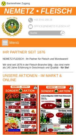 Vorschau der mobilen Webseite www.nemetz-fleisch.at, Nemetz Fleisch Handels GesmbH