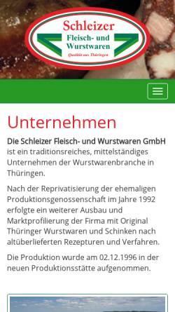 Vorschau der mobilen Webseite www.schleizer-fleisch-und-wurstwaren.de, Schleizer Fleisch- und Wurstwaren GmbH