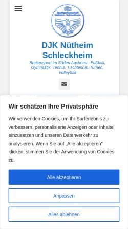 Vorschau der mobilen Webseite www.nuetheim-schleckheim.de, DJK Sportgemeinschaft Nütheim Schleckheim e.V.