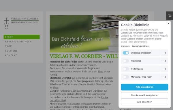 Vorschau von www.cordierverlag.de, Verlag F. W. Cordier