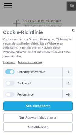 Vorschau der mobilen Webseite www.cordierverlag.de, Verlag F. W. Cordier