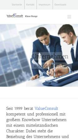 Vorschau der mobilen Webseite www.valueconsult.de, ValueConsult - Ganzheitliche Unternehmensberatung