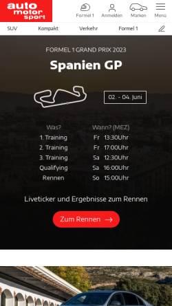 Vorschau der mobilen Webseite www.auto-motor-und-sport.de, Auto Motor Sport-Motor Presse Stuttgart GmbH & Co. KG
