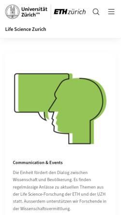 Vorschau der mobilen Webseite www.lifescience-zurich.ch, Life Science Zurich