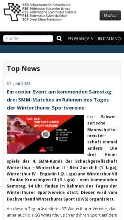 Vorschau der mobilen Webseite www.swisschess.ch, Schweizer Schachbund