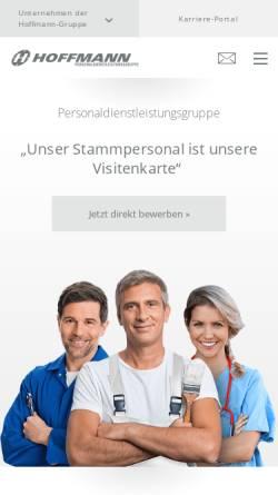 Vorschau der mobilen Webseite www.hoffmann-zeitarbeit.de, Hoffmann Unternehmensgruppe