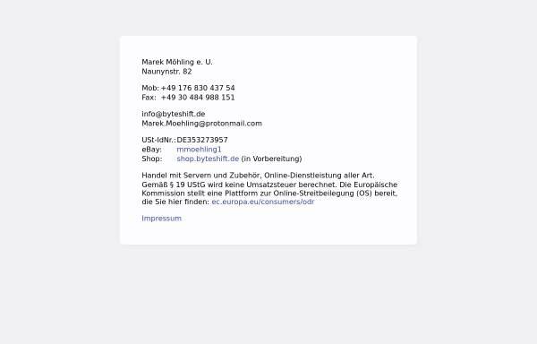 Vorschau von www.byteshift.de, Byteshift Webdesign