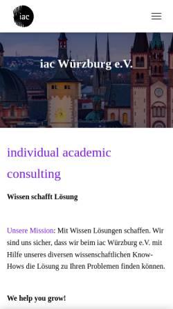 Vorschau der mobilen Webseite www.iac-wuerzburg.de, individual academic consulting Würzburg e.V.
