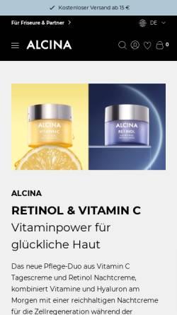 Vorschau der mobilen Webseite www.alcina.com, ALCINA Cosmetic - Dr. Kurt Wolff GmbH & Co. KG