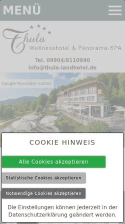 Vorschau der mobilen Webseite www.thula-landhotel.de, Thula Wellness-Hotel Bayerischer Wald